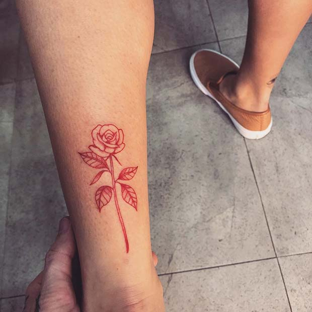 Red Ink Rose Tattoo