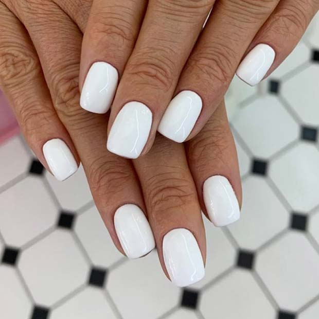 Simple White Short Nails