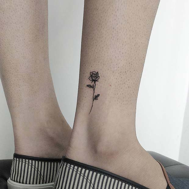 Small Ankle Rose Tattoo
