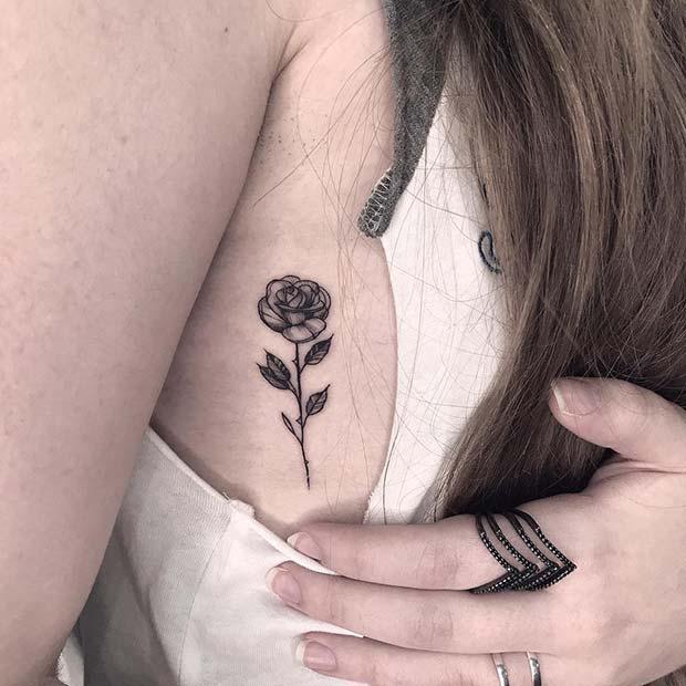 Small Single Rose Tattoo