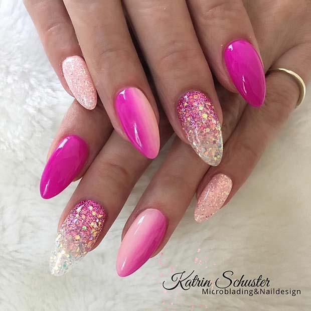 Stunning Spring Mani with Glitter