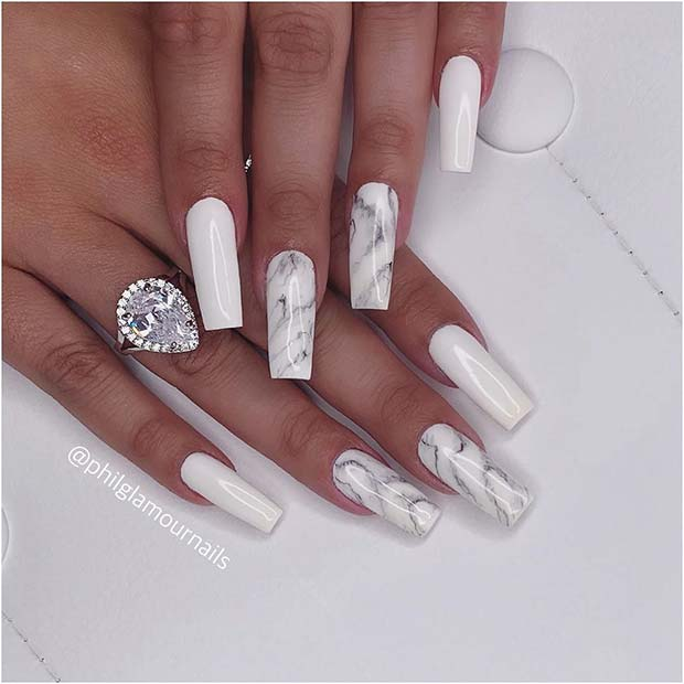 Stylish White Marble Mani