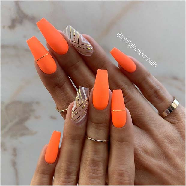 Stylish Orange Nails with a Clear Accent Nail