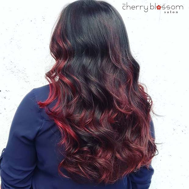 Subtle Dark Red Highlights for Black Hair