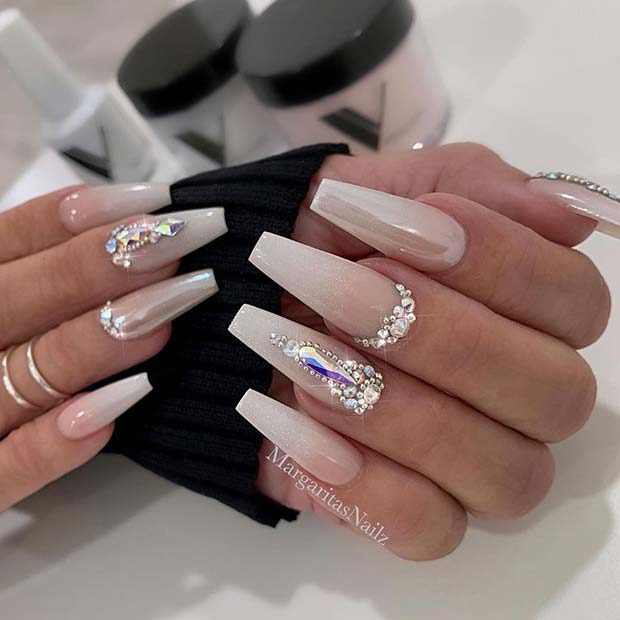 Subtle Nude Ombre Nails with Sparkle