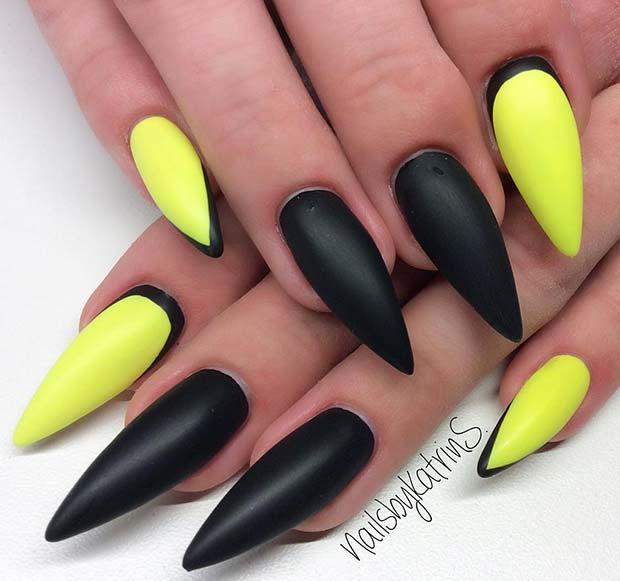 Black and Yellow Nail Design