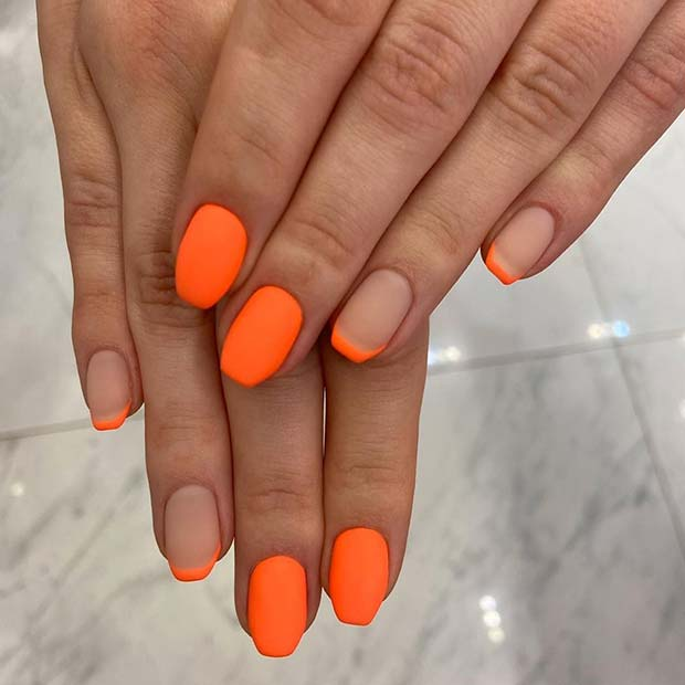 Trendy Neon Orange Mani for Short Nails