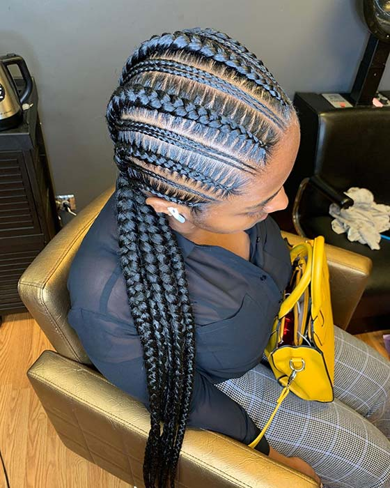 Trendy gemusterte Cornrow Braids