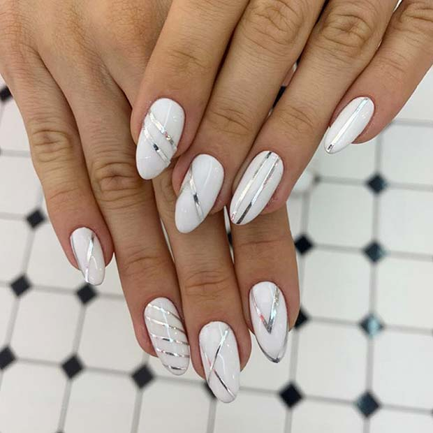 Trendy White and Silver Nails