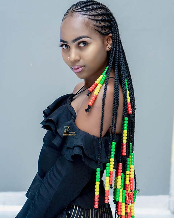 Tribal Cornrows with Red, Yellow and Green Beads