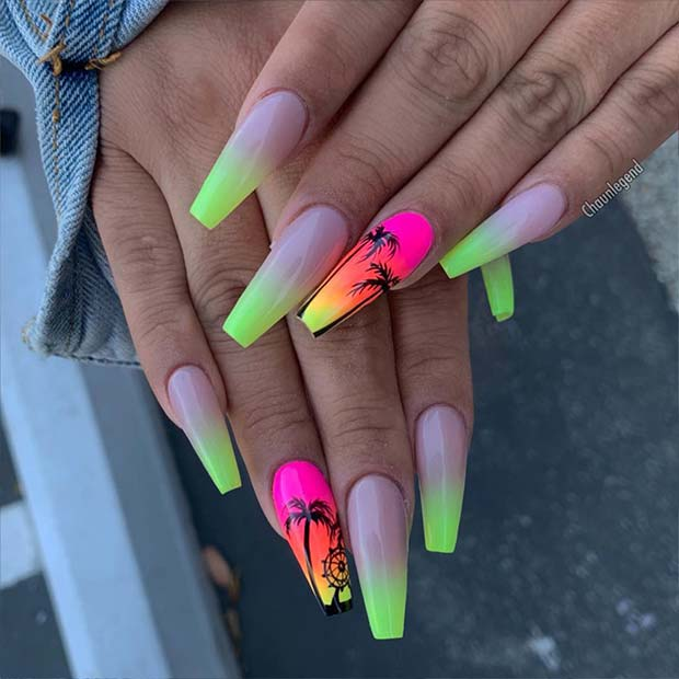 Ombre Coffin Nails for Summer