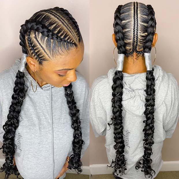 Two Bohemian Feed In Braids
