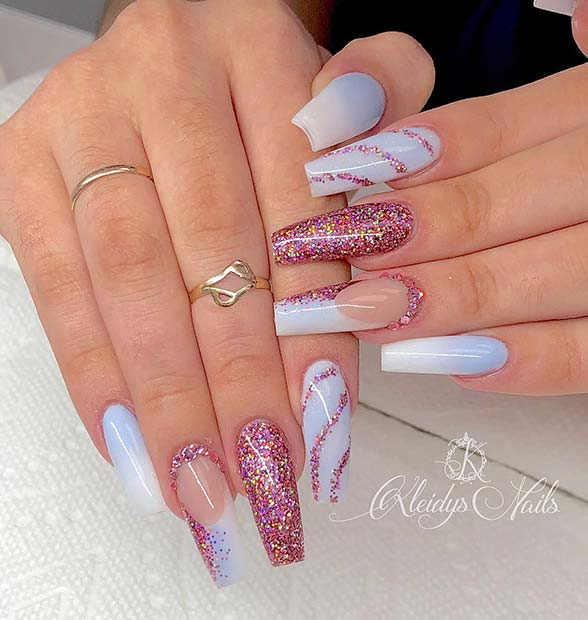 Unique Glitter Coffin Nails