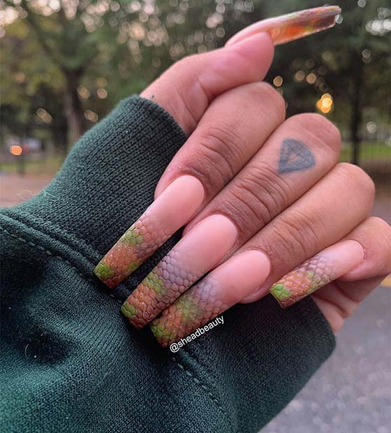 Matte Snake Print Coffin Nails