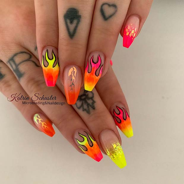 Neon Flame Nails