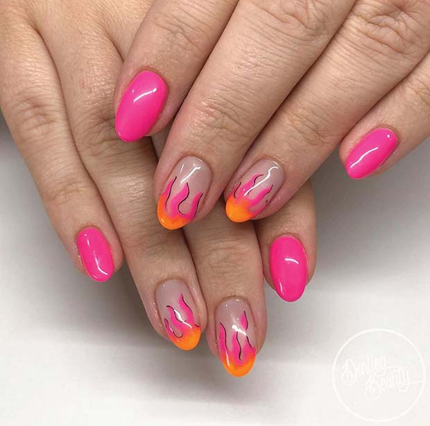 Vivid Pink Nails with Flame Art