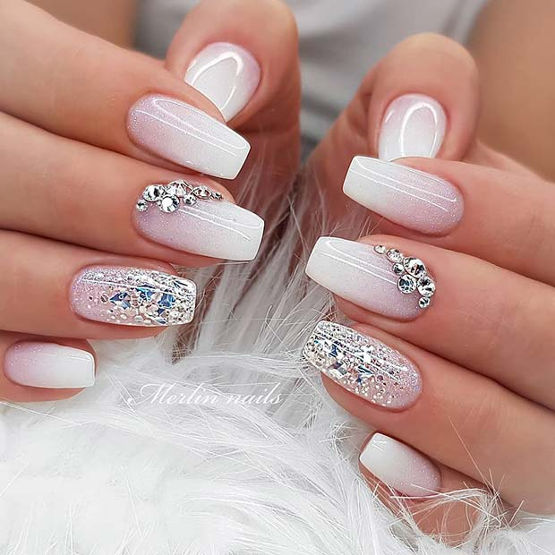 Wedding Ombre with Silver Sparkle