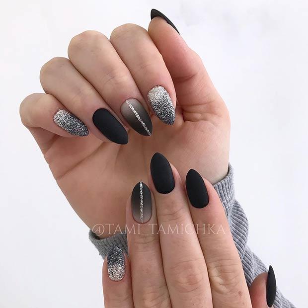 Black Matte Nail Art for Short Nails