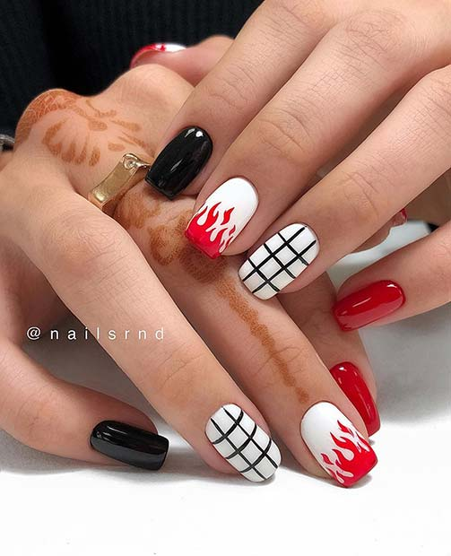 Black, Red and White Nails