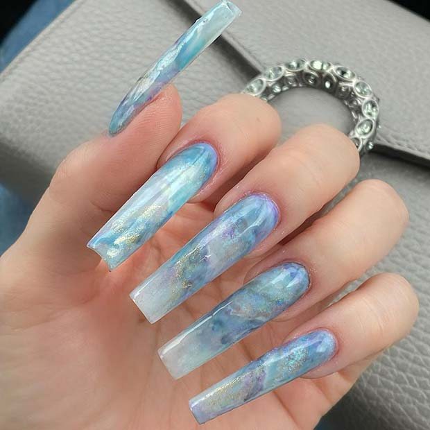 Blue Marble Square Acrylic Nails