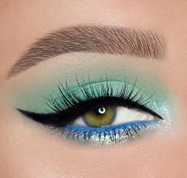 Bold Blue Prom Eye Makeup