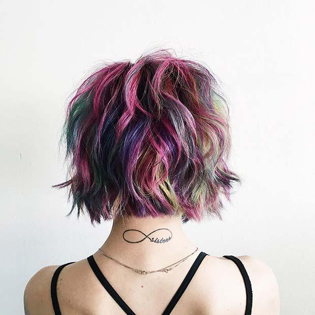 Bold and Colorful Rainbow Hair