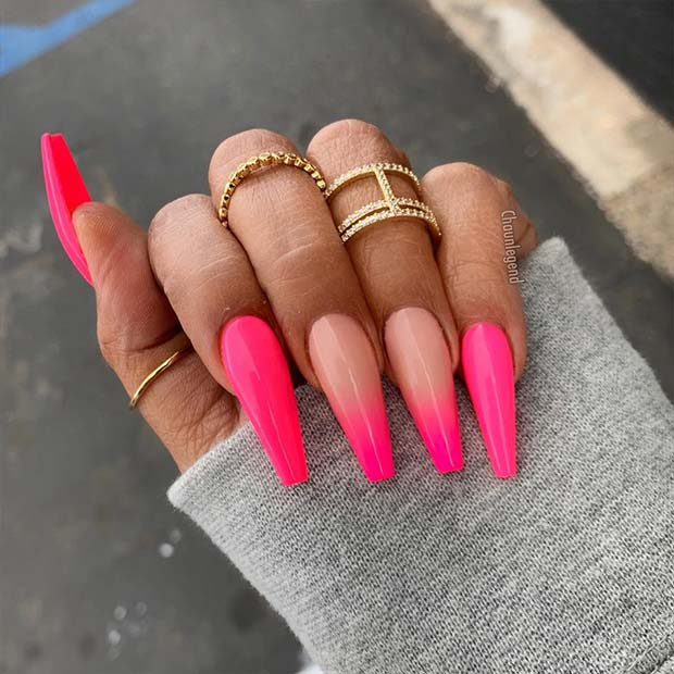 Neon Pink Nail Design