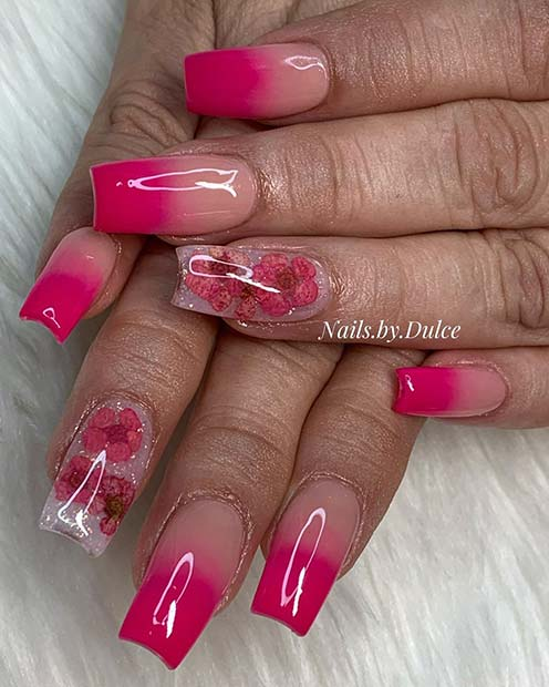 Bright Pink Ombre Nails With a Floral Accent Nail