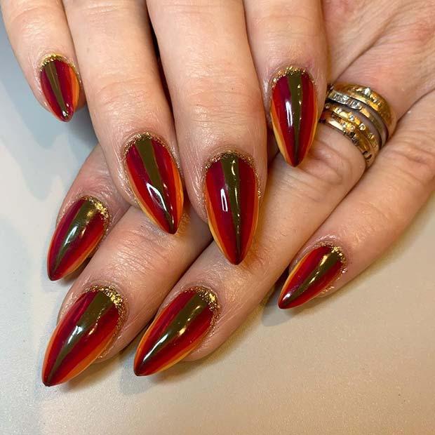 Bright Stripe Nails