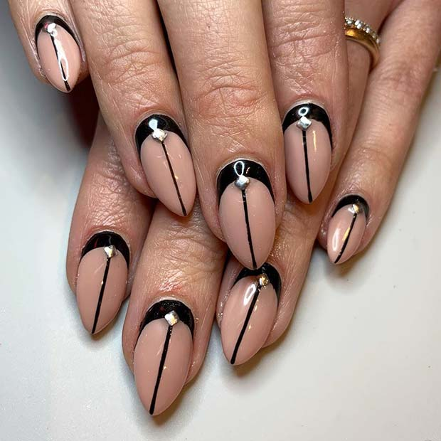 Chic Nude and Black Nail Art