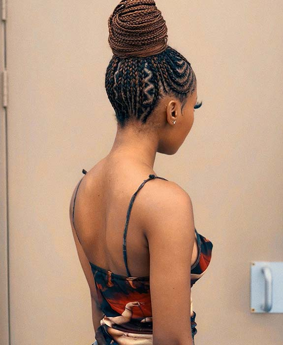 Cornrow Updo with Zig Zags