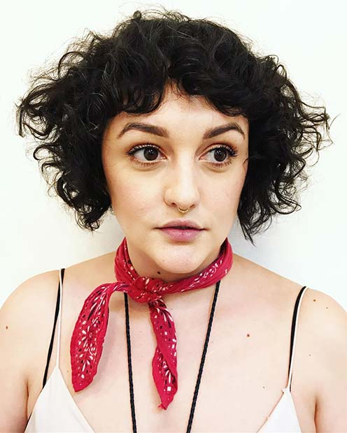 Curly Short Cut with a Vintage Vibe