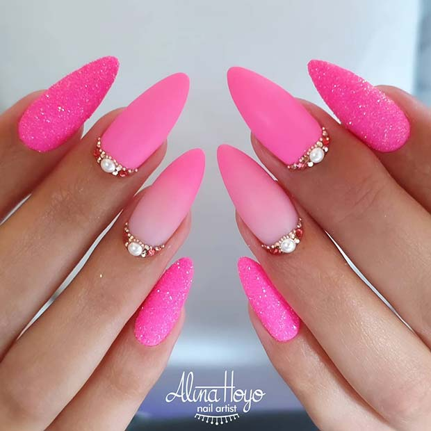 Elegant Neon Pink Nails
