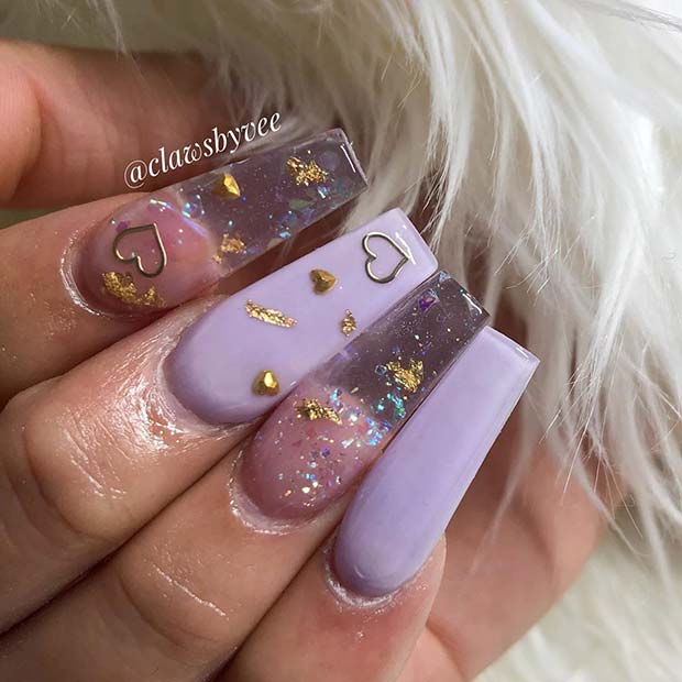Cute Lavender And Clear Nail Idea