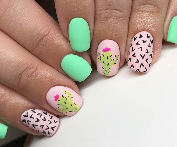 Cute Shellac Nail Design for Short Nails