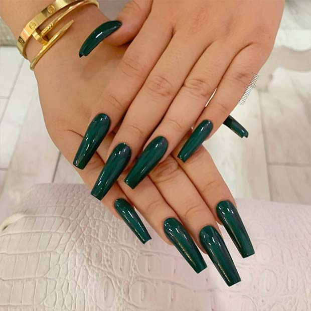 Dark Green Square Acrylic Nails