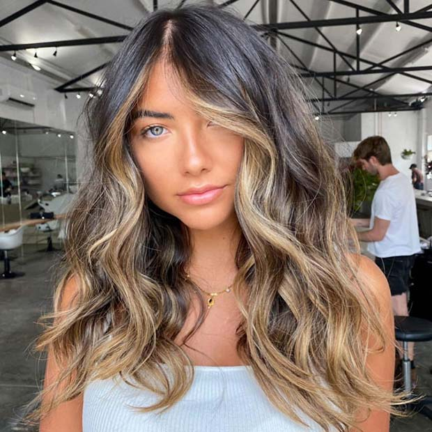 Dark Hair with Warm Blonde Highlights