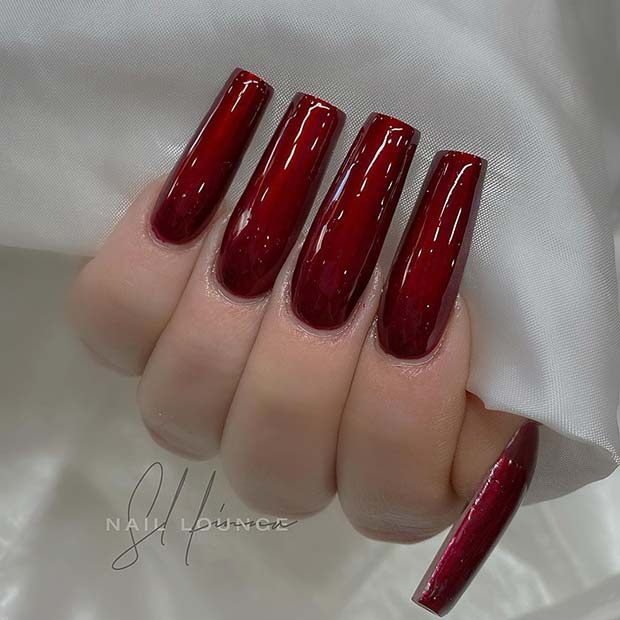 Dark Red Square Acrylic Nails