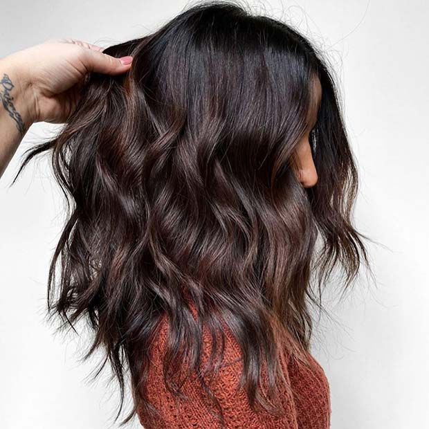Layered Thick Hair with Waves