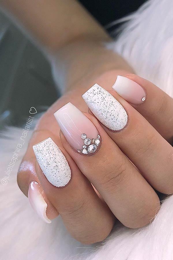 Elegant White Glitter Nail Design