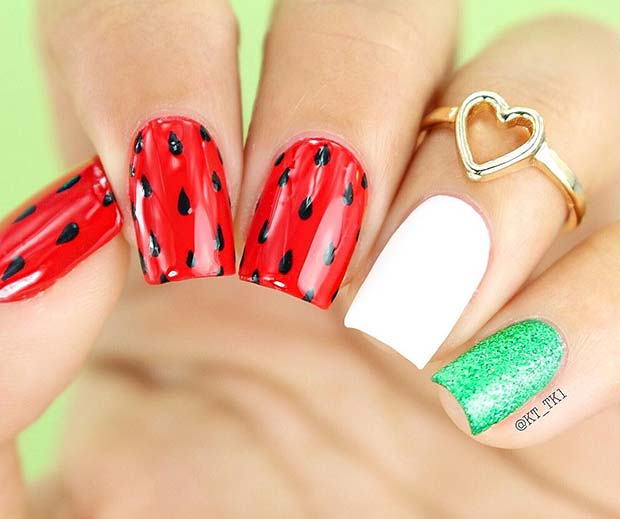 Fun Watermelon Nail Art