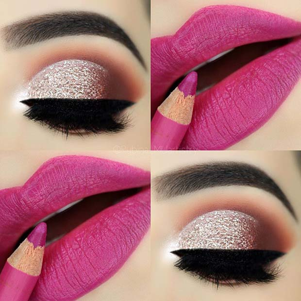 Glittery Eyes with Pink Lips