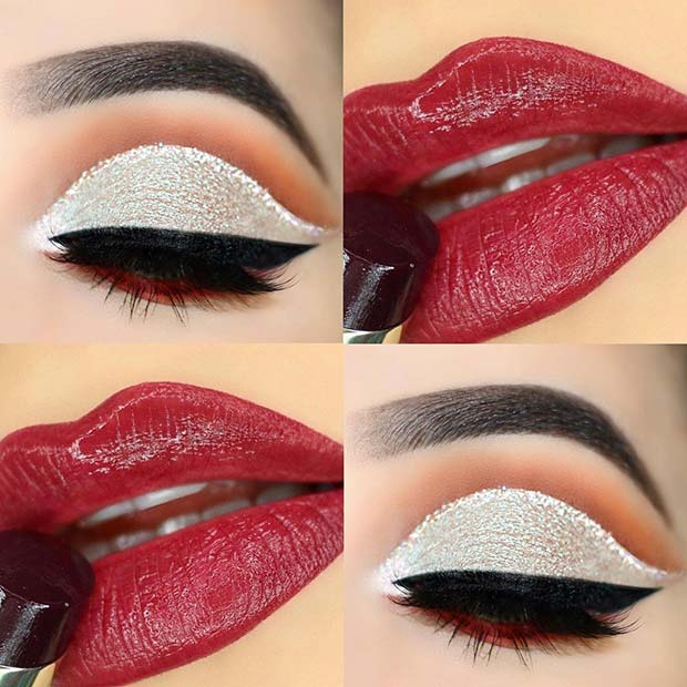 Glitzy Eyes with Red Lips