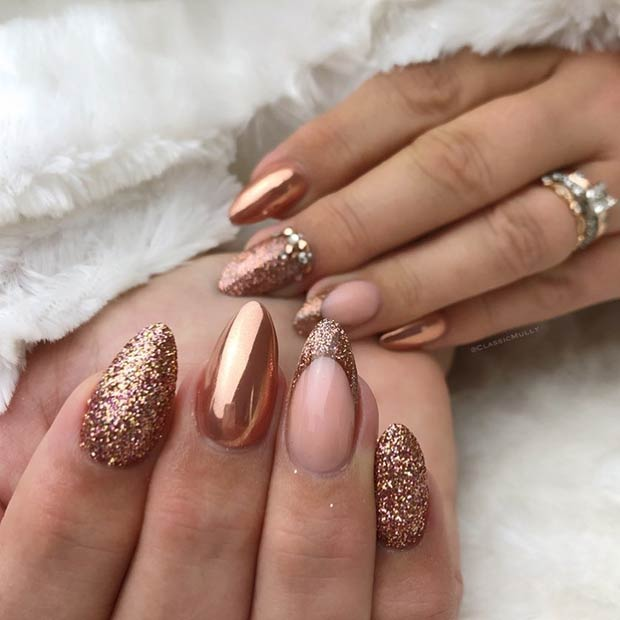 Gold Short Pointy Nails