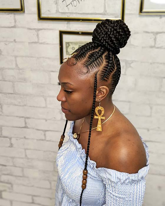 High Bun with Loose Braids and Beads