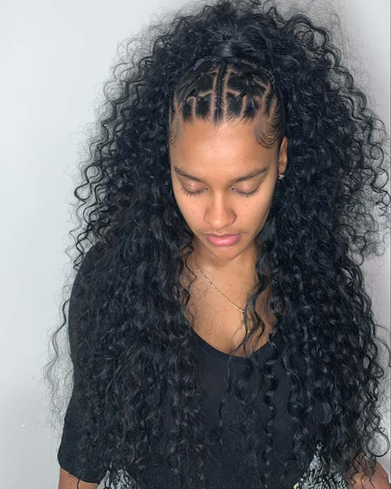Curly Hair Rubber Band Hairstyle