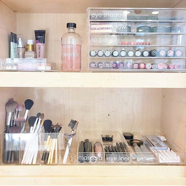 Labelled Makeup Shelves