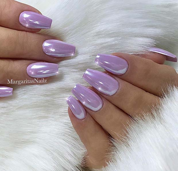 Lavender Chrome On Short Coffin Nails