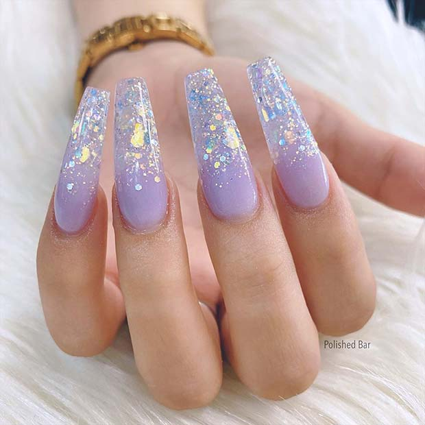 Lavender and Silver Glitter Nails