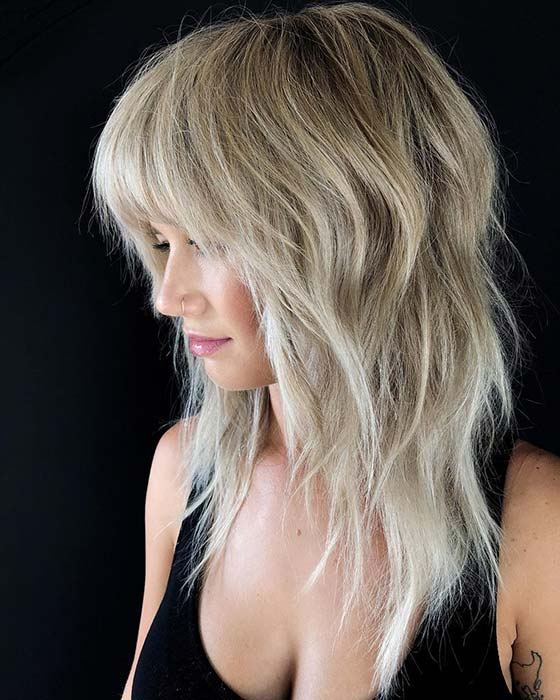 Layered Hair with Straight Across Bangs